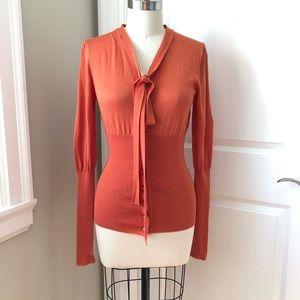 CELINE Wool Silk Neck Tie Orange Blouson Cardigan